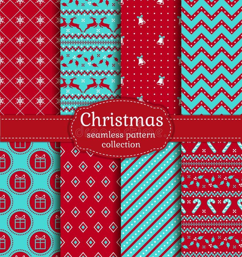 πρότυπα Χριστουγέννων άνε&upsil πολικό καθορισμένο διάνυσμα καρδιών κινούμενων σχεδίων διανυσματική απεικόνιση
