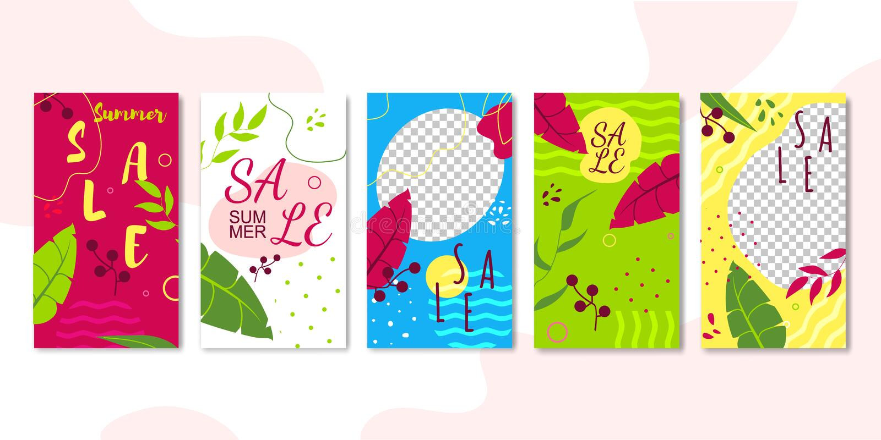 Πρότυπα Editable ιστοριών πωλήσεων που τίθενται για τη ροή διανυσματική απεικόνιση
