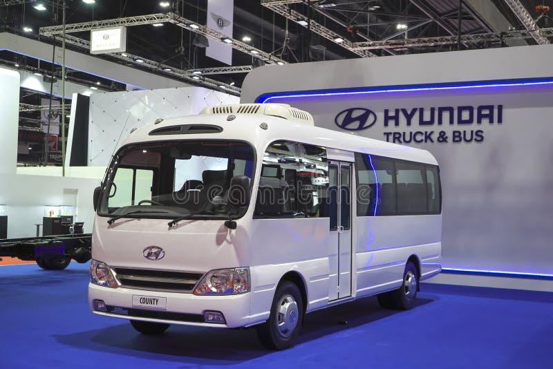 Πρότυπη κομητεία λεωφορείων φορτηγών της Hyundai στην επίδειξη στη έκθεση αυτοκινήτου 2019 στοκ εικόνες με δικαίωμα ελεύθερης χρήσης