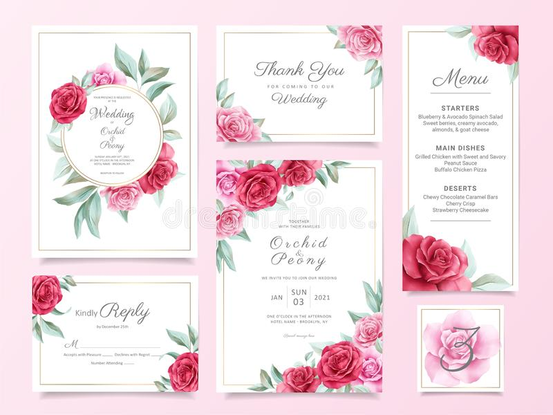 Πρότυπη οικογένεια πρότυπων καρτών πρόσκλησης για γάμο με λουλούδια, με κόκκινα και μοβ τριαντάφυλλα και φύλλα Πακέτο φόντου βοτα διανυσματική απεικόνιση