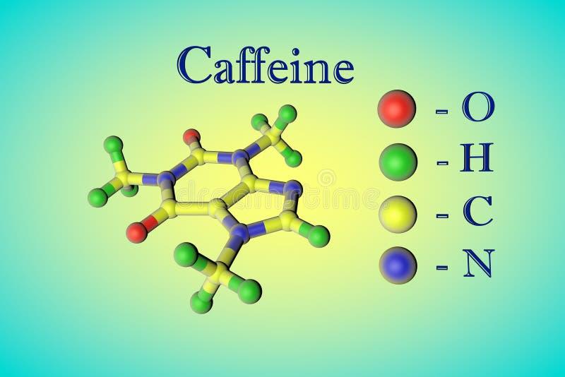 πρότυπος μοριακός καφεΐν&et Τα άτομα αντιπροσωπεύονται ως σφαίρες με την κωδικοποίηση χρώματος: κόκκινο οξυγόνου, υδρογόνο πράσιν διανυσματική απεικόνιση