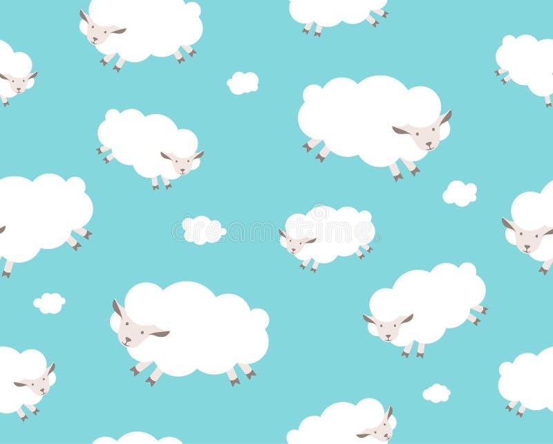 πρότυπο άνευ ραφής Άσπρα πρόβατα και σύννεφο απεικόνιση αποθεμάτων