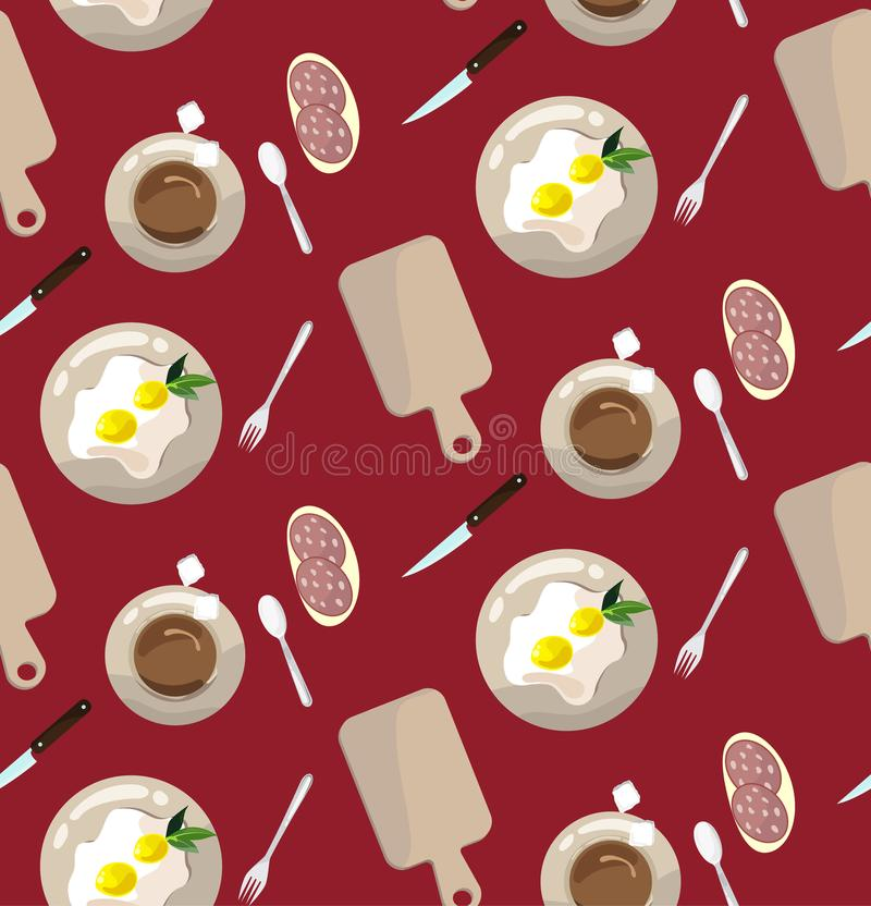 πρότυπο άνευ ραφής έννοια του μεσημεριανού γεύματος απεικόνιση αποθεμάτων