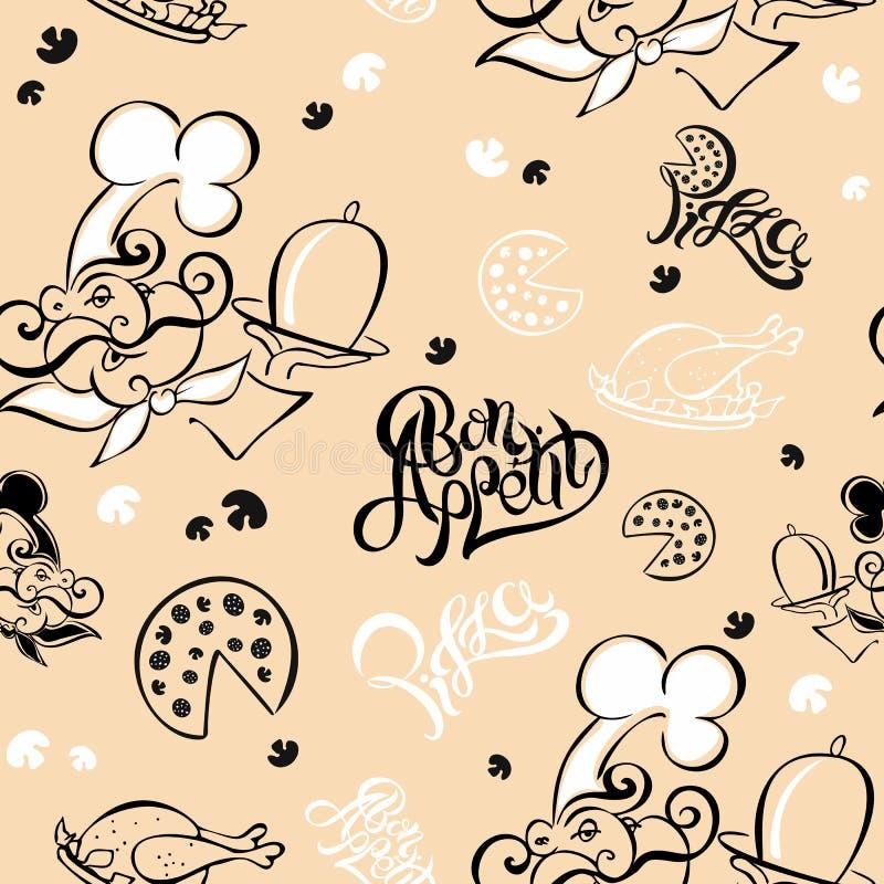 πρότυπο άνευ ραφής Αρχιμάγειρας Θέμα κουζινών logotype Μάγειρας Bon Appetit Πίτσα Μοντέρνη εγγραφή επίσης corel σύρετε το διάνυσμ ελεύθερη απεικόνιση δικαιώματος