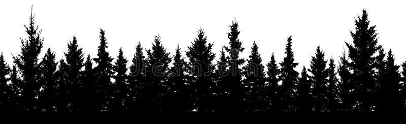 πρότυπο άνευ ραφής Δάσος της σκιαγραφίας δέντρων έλατου Χριστουγέννων απεικόνιση αποθεμάτων