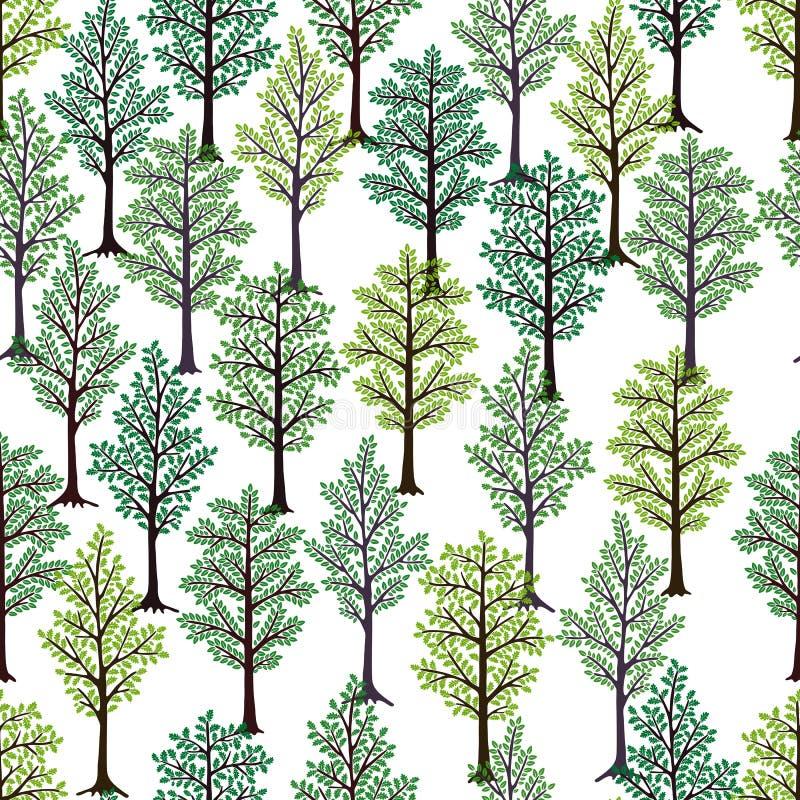 πρότυπο άνευ ραφής Δέντρα με το πράσινο φύλλωμα που απομονώνεται στο άσπρο υπόβαθρο απεικόνιση αποθεμάτων