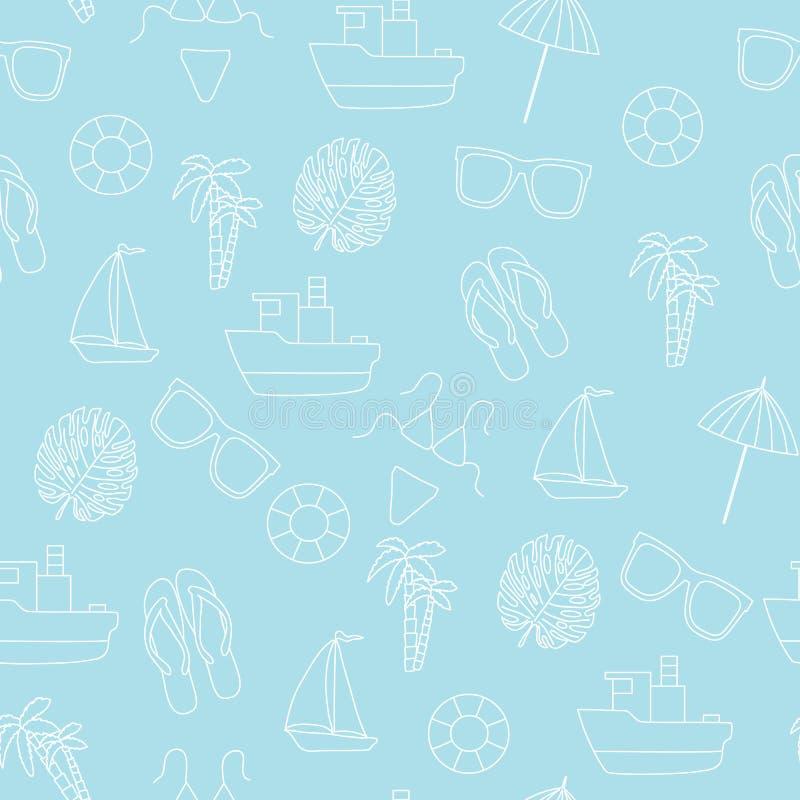 πρότυπο άνευ ραφής Καλοκαίρι και θάλασσα στοκ εικόνα