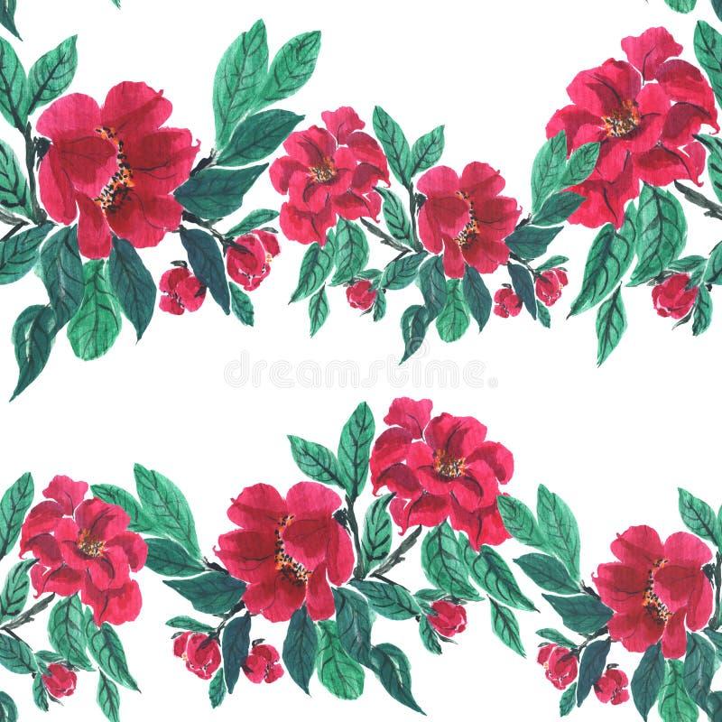πρότυπο άνευ ραφής Λουλούδια, φύλλα, μίσχοι και οφθαλμοί Χρήση π απεικόνιση αποθεμάτων