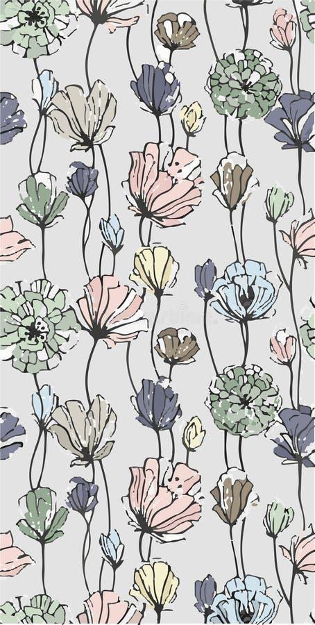 πρότυπο άνευ ραφής Ρεαλιστικά λουλούδια ταπετσαρία απεικόνιση αποθεμάτων