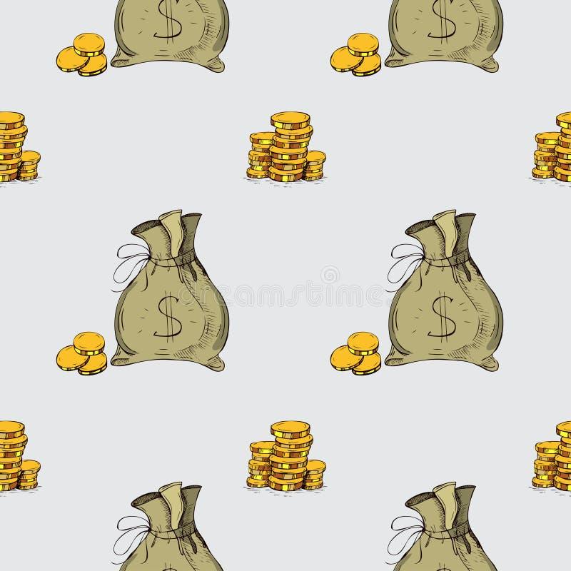 πρότυπο άνευ ραφής Στοιχεία σχεδίων χεριών χρημάτων διανυσματική απεικόνιση