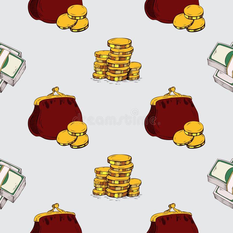 πρότυπο άνευ ραφής Στοιχεία σχεδίων χεριών χρημάτων απεικόνιση αποθεμάτων