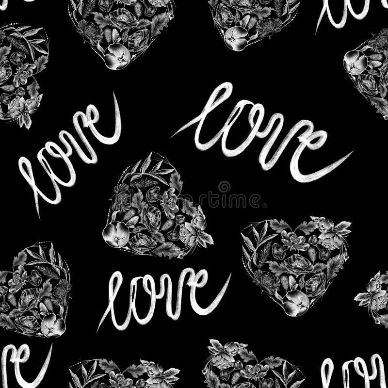 πρότυπο άνευ ραφής Συρμένα κιμωλία άσπρα λουλούδια ύφους στο επίπεδο μαύρο υπόβαθρο ελεύθερη απεικόνιση δικαιώματος
