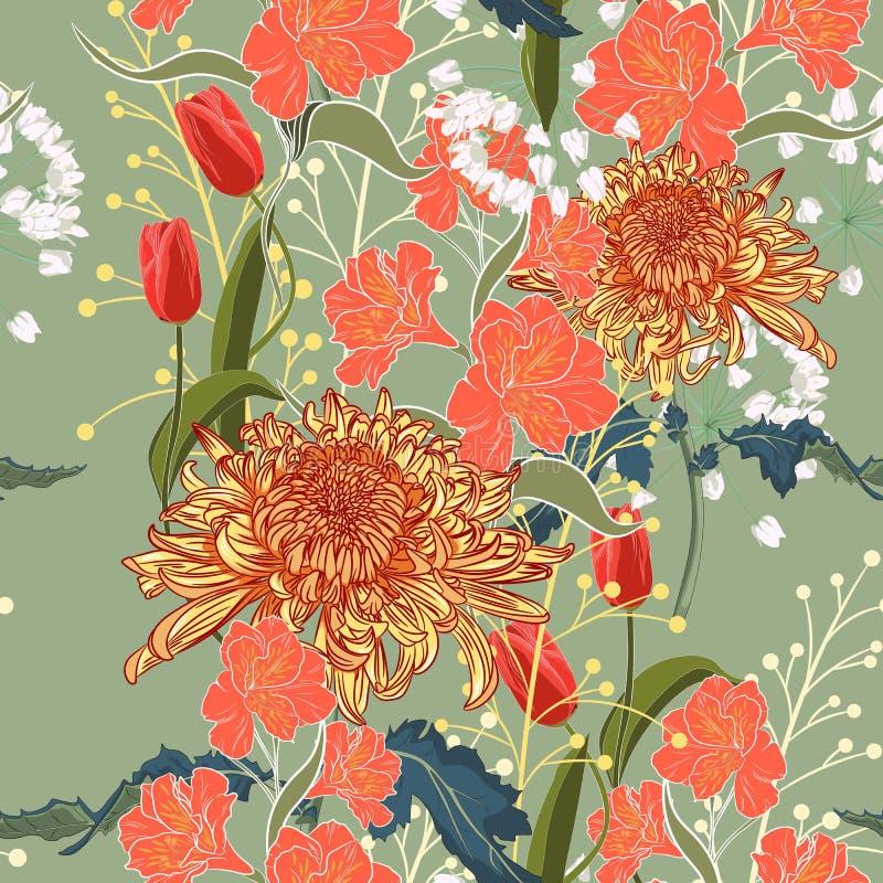 πρότυπο άνευ ραφής Όμορφα ρόδινα ιώδη ανθίζοντας λουλούδια πράσινος τρύγος ανασκόπησ ελεύθερη απεικόνιση δικαιώματος