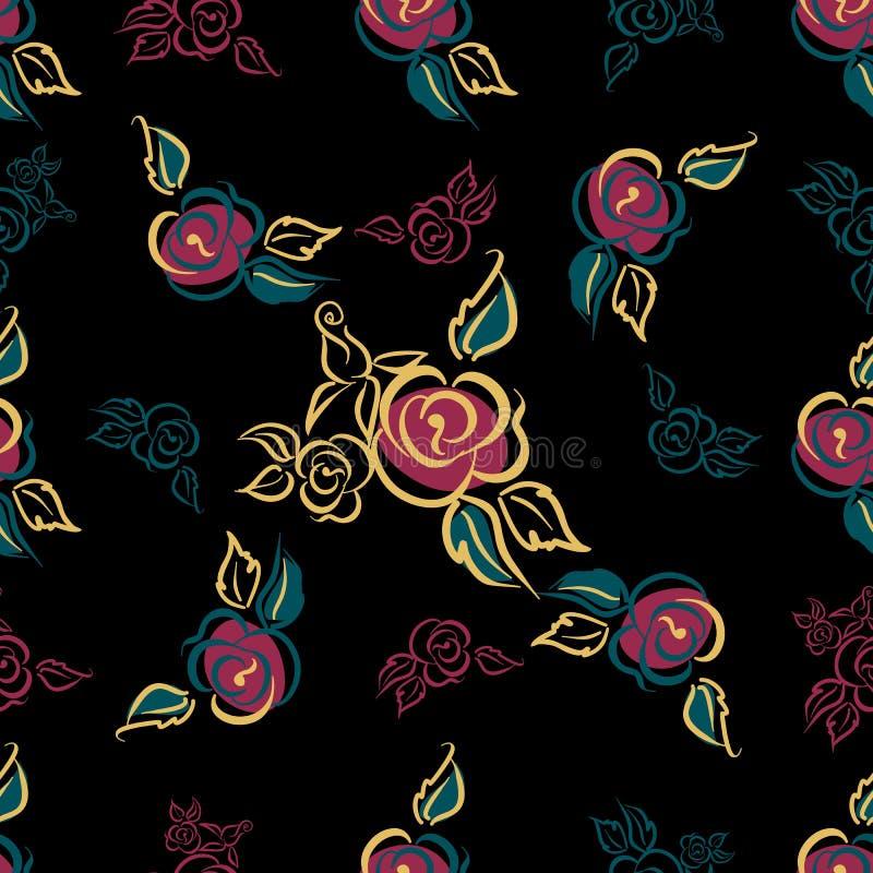 πρότυπο άνευ ραφής Floral τυπωμένη ύλη τριαντάφυλλα ανθοδεσμών διακοσμητικός Μαύρη ανασκόπηση διάνυσμα απεικόνιση αποθεμάτων