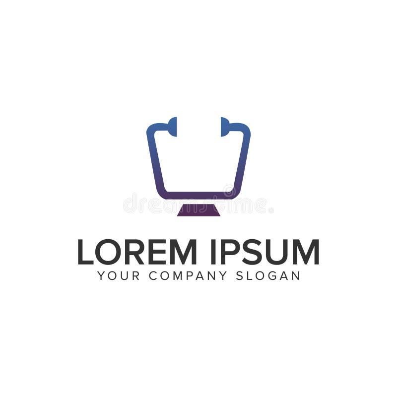 Πρότυπο έννοιας σχεδίου λογότυπων γιατρών οθόνης υπολογιστών γραφείου ελεύθερη απεικόνιση δικαιώματος