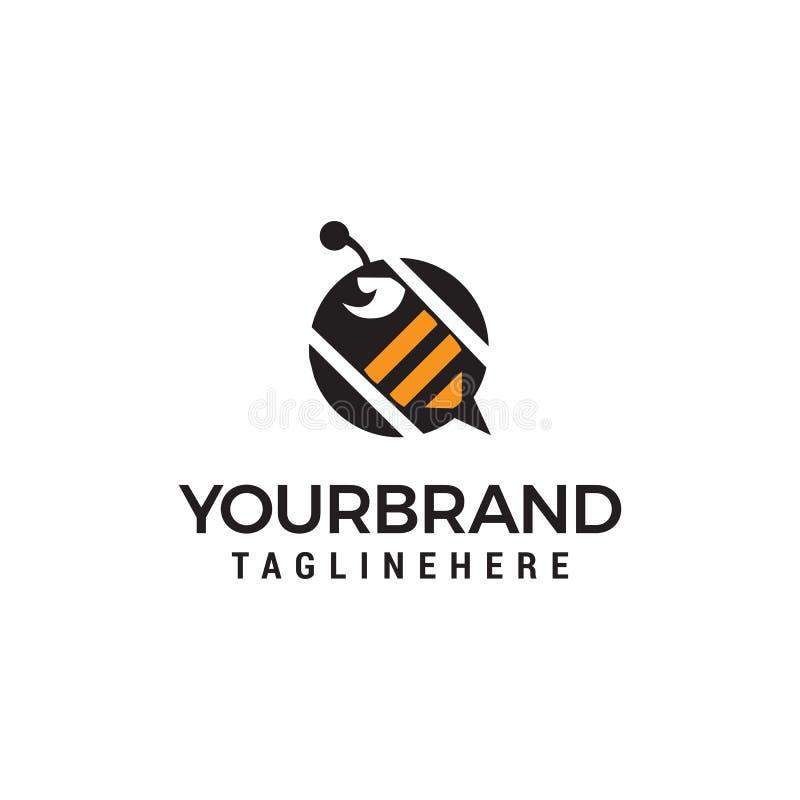 Πρότυπο έννοιας σχεδίου λογότυπων μελισσών διανυσματική απεικόνιση