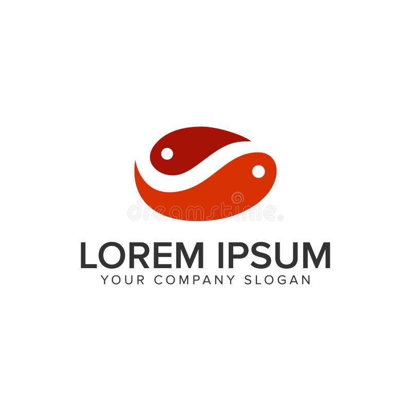 Πρότυπο έννοιας σχεδίου λογότυπων ψαριών ζεύγους πλήρως editable διανυσματική απεικόνιση