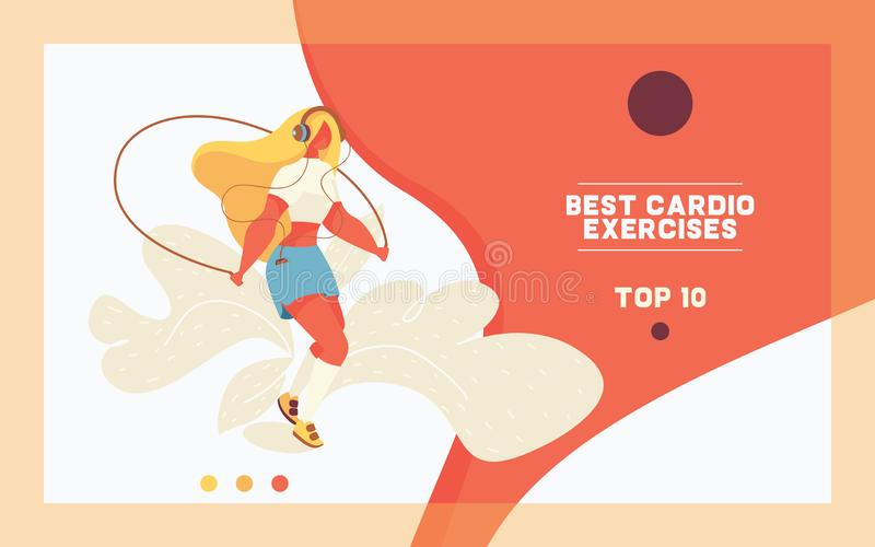 Πρότυπο έννοιας της προσγειωμένος σελίδας για τον αθλητισμό και workout Νέο μεγάλου μεγέθους κορίτσι που πηδά με το πηδώντας σχοι απεικόνιση αποθεμάτων