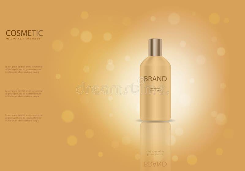 Πρότυπο αγγελιών σαμπουάν τρίχας φύσης, χρυσό πρότυπο μπουκαλιών γυαλιού καλλυντική αφίσα προϊόντων, packa μπουκαλιών απεικόνιση αποθεμάτων