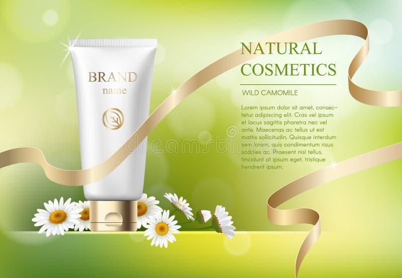 Πρότυπο αγγελιών, κενό πρότυπο φροντίδας δέρματος με τη ρεαλιστική μαργαρίτα, πλαστικοί σωλήνες για τα καλλυντικά προϊόντα και χρ απεικόνιση αποθεμάτων