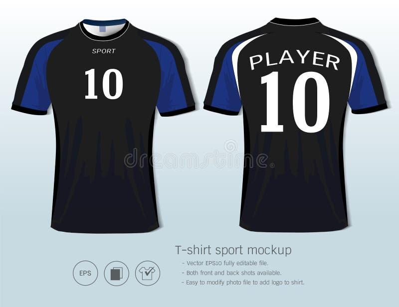 Πρότυπο αθλητικού σχεδίου μπλουζών για τη λέσχη ποδοσφαίρου ή όλο sportswear διανυσματική απεικόνιση