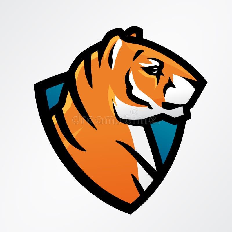 Πρότυπο αθλητικών μασκότ ασπίδων τιγρών Σχέδιο μπαλωμάτων ποδοσφαίρου ή μπέιζ-μπώλ Διακριτικά ένωσης κολλεγίου, διάνυσμα ομάδων γ διανυσματική απεικόνιση