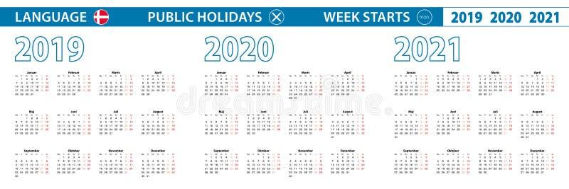 Πρότυπο απλού ημερολογίου στα δανικά για τα έτη 2019, 2020 και 2021 Η εβδομάδα αρχίζει από τη Δευτέρα διανυσματική απεικόνιση