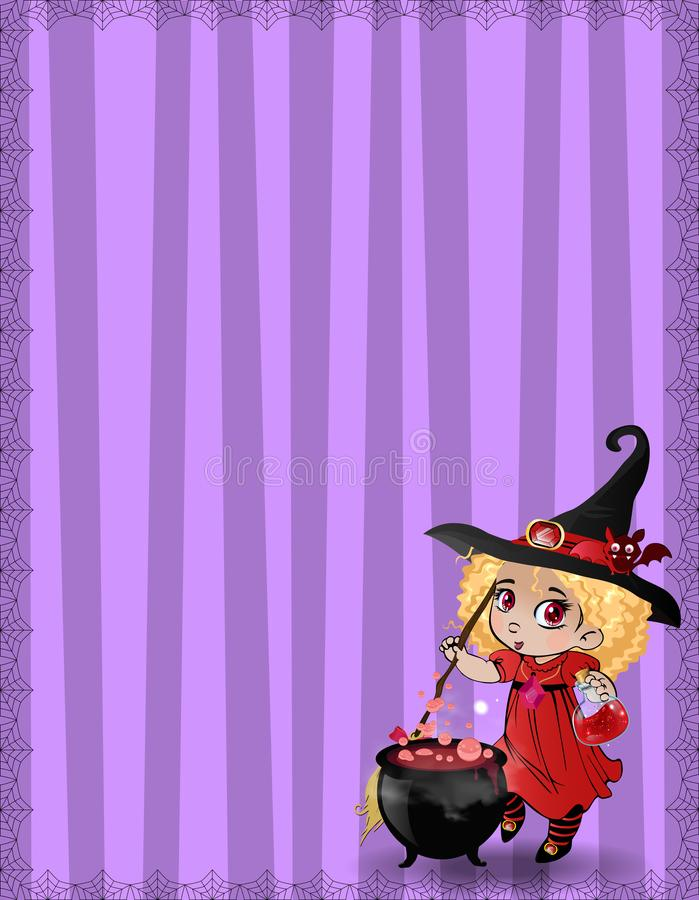 Πρότυπο αποκριών με το κορίτσι, το ρόπαλο και το καζάνι μαγισσών που πλαισιώνονται με το spiderweb στο ριγωτό ιώδες υπόβαθρο διανυσματική απεικόνιση