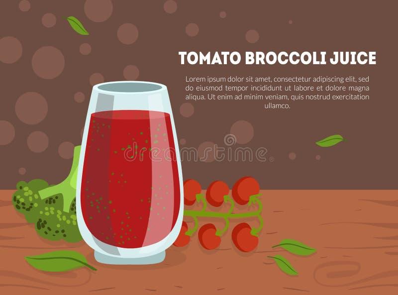 Πρότυπο αφετηρίας χυμού ντομάτας και μπρόκολου με χώρο για κείμενο, απαλή απεικόνιση διανύσματος αποτοξίνωσης απεικόνιση αποθεμάτων