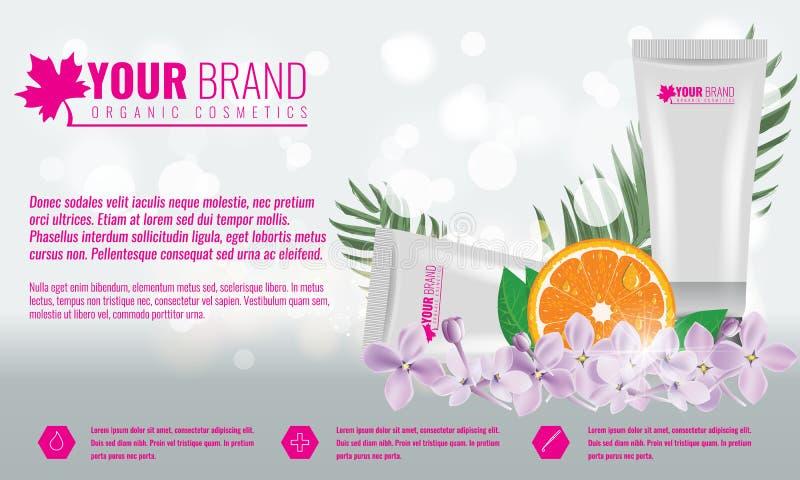 Πρότυπο αφισών αγγελιών προϊόντων καλλυντικών Καλλυντικό πρότυπο ομορφιάς Συσκευασία σωλήνων κρέμας με τα λουλούδια και το φύλλο  ελεύθερη απεικόνιση δικαιώματος