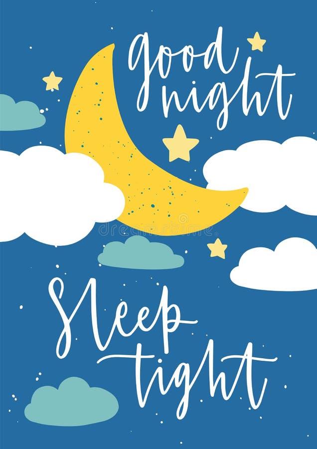 Πρότυπο αφισών για το δωμάτιο παιδιών ` s με την ημισέληνο φεγγαριών, τα αστέρια, τα σύννεφα και τη σφιχτή επιγραφή ύπνου καληνύχ απεικόνιση αποθεμάτων