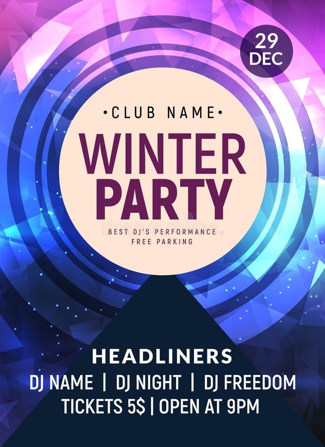 Πρότυπο αφισών ιπτάμενων χορού Disco Σχέδιο πρόσκλησης υποβάθρου διακοσμήσεων γεγονότος χειμερινών κομμάτων του DJ διανυσματική απεικόνιση