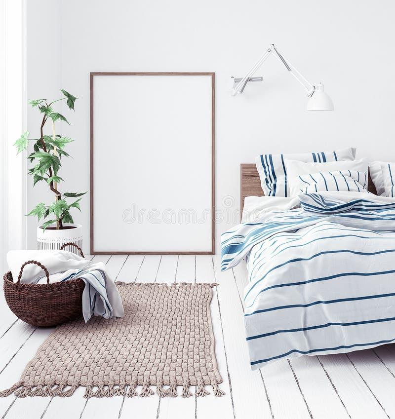 Πρότυπο αφισών στη νέα Σκανδιναβική κρεβατοκάμαρα boho στοκ φωτογραφίες