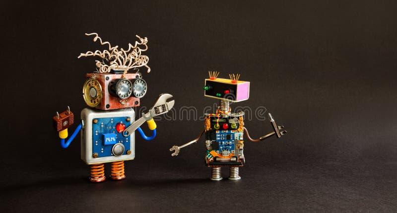 Πρότυπο αφισών συντήρησης εργασιών υπηρεσιών Παιχνίδια ρομπότ Mecanical με τα εργαλεία κατσαβιδιών κλειδιών γαλλικών κλειδιών χερ στοκ εικόνα με δικαίωμα ελεύθερης χρήσης
