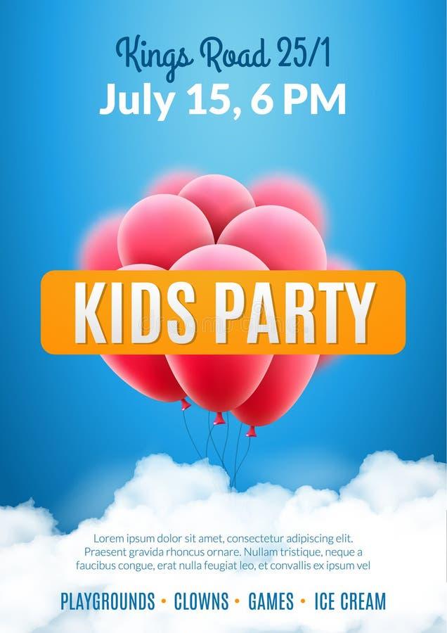 Πρότυπο αφισών σχεδίου πρόσκλησης κομμάτων παιδιών Ιπτάμενο εορτασμού διασκέδασης παιδιών απεικόνιση αποθεμάτων