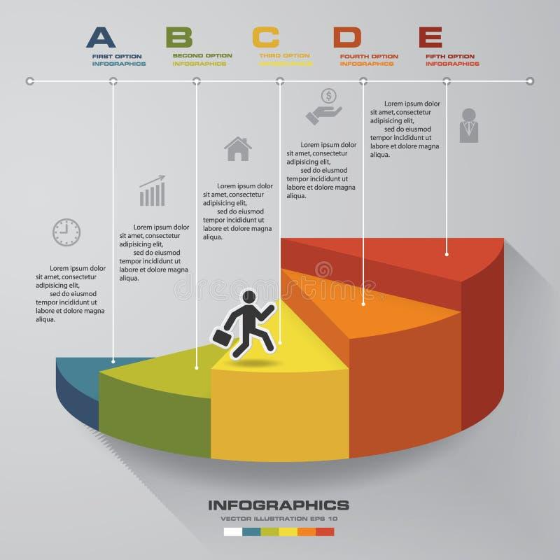 πρότυπο 5 βημάτων για την παρουσίαση άτομο που περπατά στη χρήση σκαλοπατιών για το σχέδιο Infographics με 5 υποδείξεις ως προς τ ελεύθερη απεικόνιση δικαιώματος