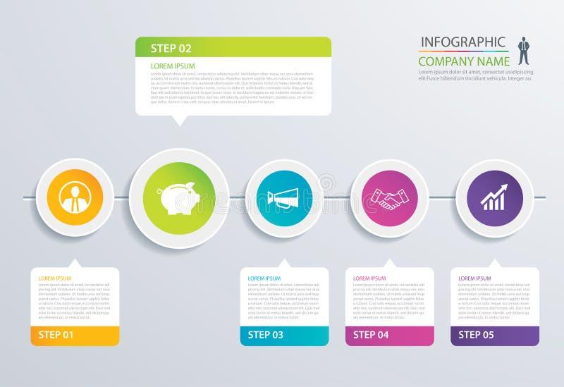 πρότυπο 5 βημάτων κύκλων επιλογών υπόδειξης ως προς το χρόνο infographic με το έγγραφο s διανυσματική απεικόνιση