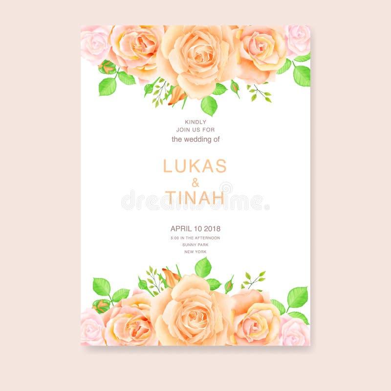 Πρότυπο γαμήλιας πρόσκλησης με τα όμορφα λουλούδια τριαντάφυλλων ελεύθερη απεικόνιση δικαιώματος