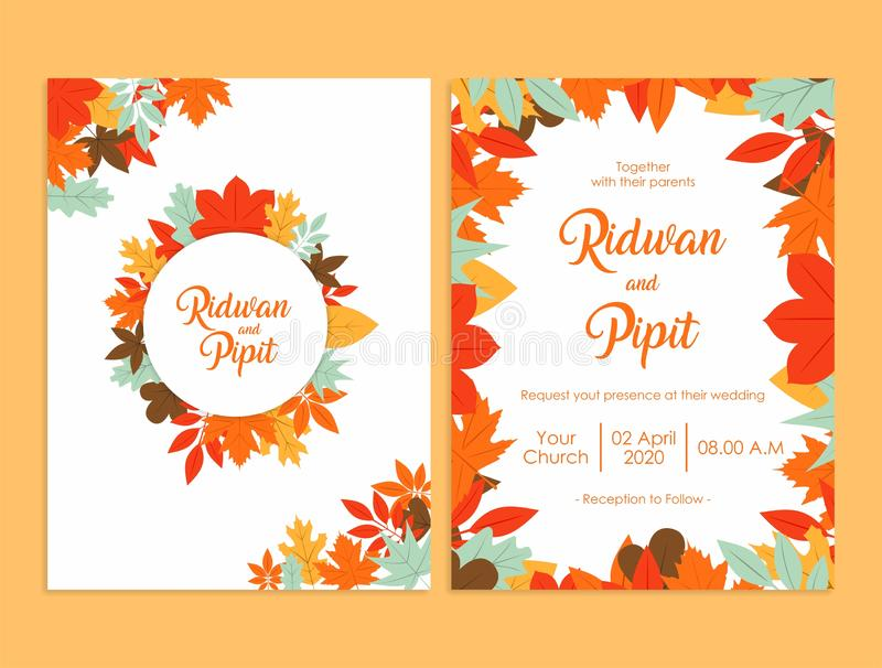 Πρότυπο γαμήλιας πρόσκλησης με τα όμορφα λουλούδια ελεύθερη απεικόνιση δικαιώματος