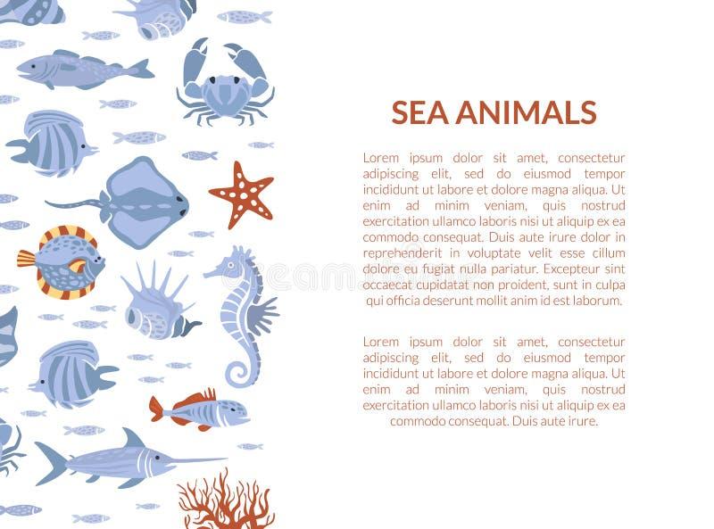 Πρότυπο για τα θαλάσσια ζώα με θαλάσσια πανίδα και χώρο για απεικόνιση διανυσμάτων κειμένου απεικόνιση αποθεμάτων