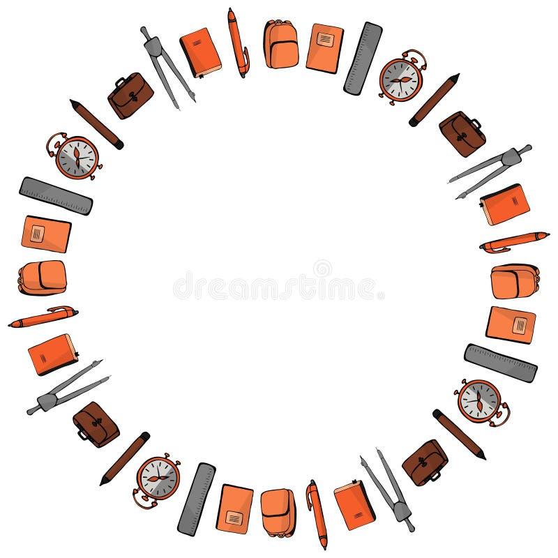 Πρότυπο για την 1η Σεπτεμβρίου Στρογγυλό πλαίσιο των στυλών, των μολυβιών, των πυξίδων, των σημειωματάριων, των εγχειριδίων, των  διανυσματική απεικόνιση
