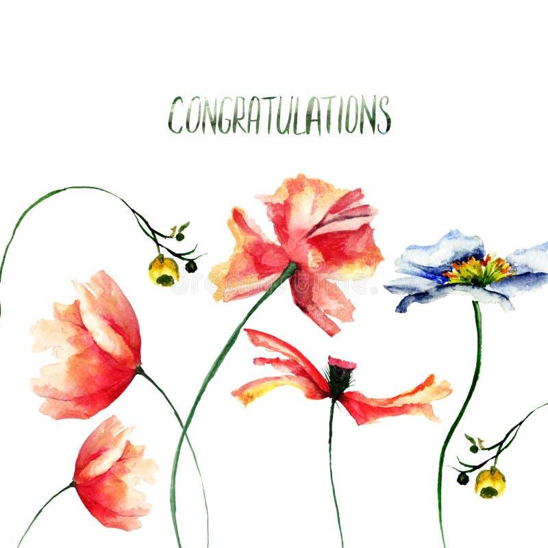 Πρότυπο για την κάρτα με τα άγρια λουλούδια και τα συγχαρητήρια τίτλου διανυσματική απεικόνιση
