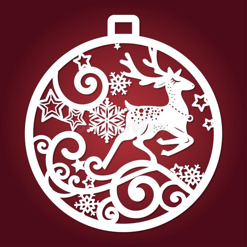 Πρότυπο για την κοπή λέιζερ Σφαίρα Χριστουγέννων διάνυσμα απεικόνιση αποθεμάτων