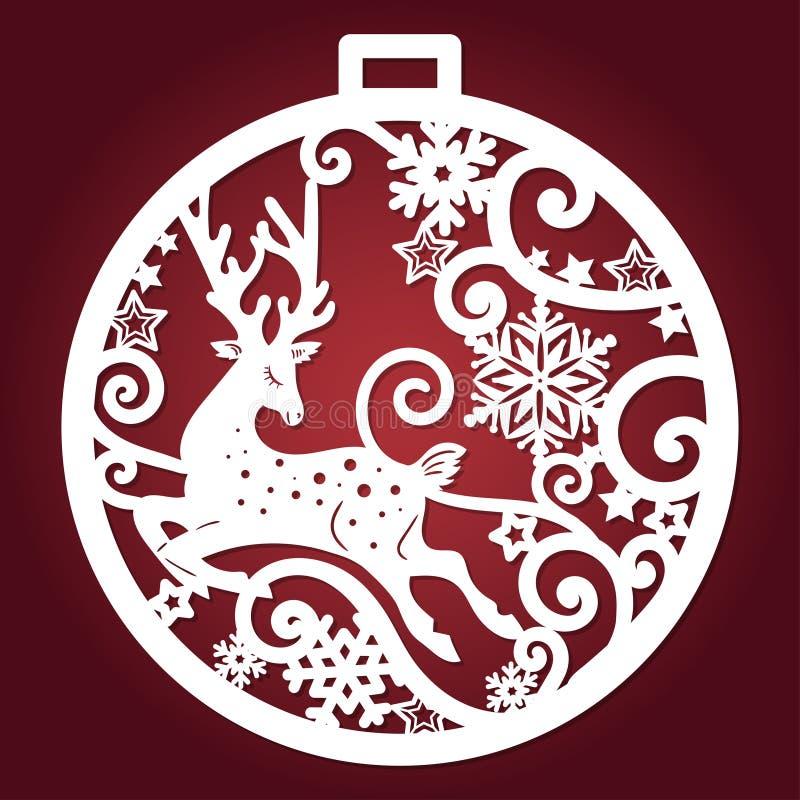 Πρότυπο για την κοπή λέιζερ Σφαίρα Χριστουγέννων διάνυσμα διανυσματική απεικόνιση