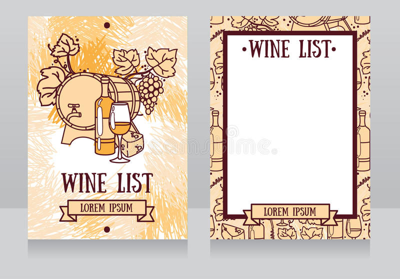 Πρότυπο για τον κατάλογο κρασιού ελεύθερη απεικόνιση δικαιώματος