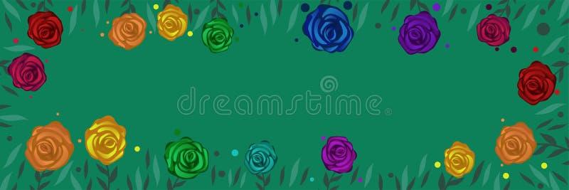 Πρότυπο για το έμβλημα Ιστού με τα πολύχρωμα τριαντάφυλλα Διανυσματικό πλαίσιο των τριαντάφυλλων και των φύλλων απεικόνιση αποθεμάτων