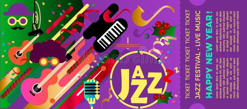 Πρότυπο για το εισιτήριο του φεστιβάλ τζαζ με τα μουσικά όργανα Ζωηρόχρωμο φεστιβάλ της μουσικής τζαζ Χριστούγεννα και νέο έτος m απεικόνιση αποθεμάτων