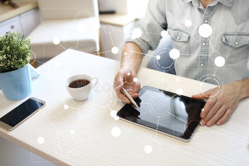 Πρότυπο για το κείμενο, εικονικό υπόβαθρο οθόνης με τα εικονίδια Επιχείρηση, τεχνολογία Διαδικτύου και έννοια δικτύωσης στοκ φωτογραφίες