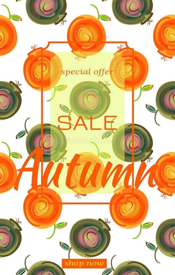 Πρότυπο για το φθινόπωρο πώλησης Σχέδιο με το πολύχρωμο σύνολο άγρια βακκινίων και cowberries ή μήλων Πώληση κειμένων, φθινόπωρο διανυσματική απεικόνιση