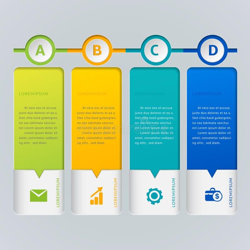 Πρότυπο για infographic διανυσματικές 4 επιλογές Μπορέστε να χρησιμοποιηθείτε για το σχεδιάγραμμα ροής της δουλειάς, διάγραμμα, έ ελεύθερη απεικόνιση δικαιώματος